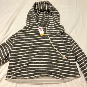Cropped Striped Gray Hoodie
